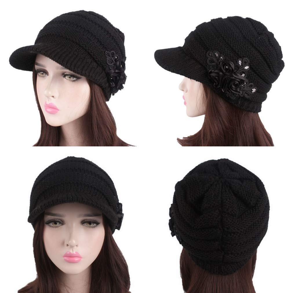 COMVIP 5Styles Women Knitted Winter Warm Visor Beret Cold Weather Newsboy Caps
