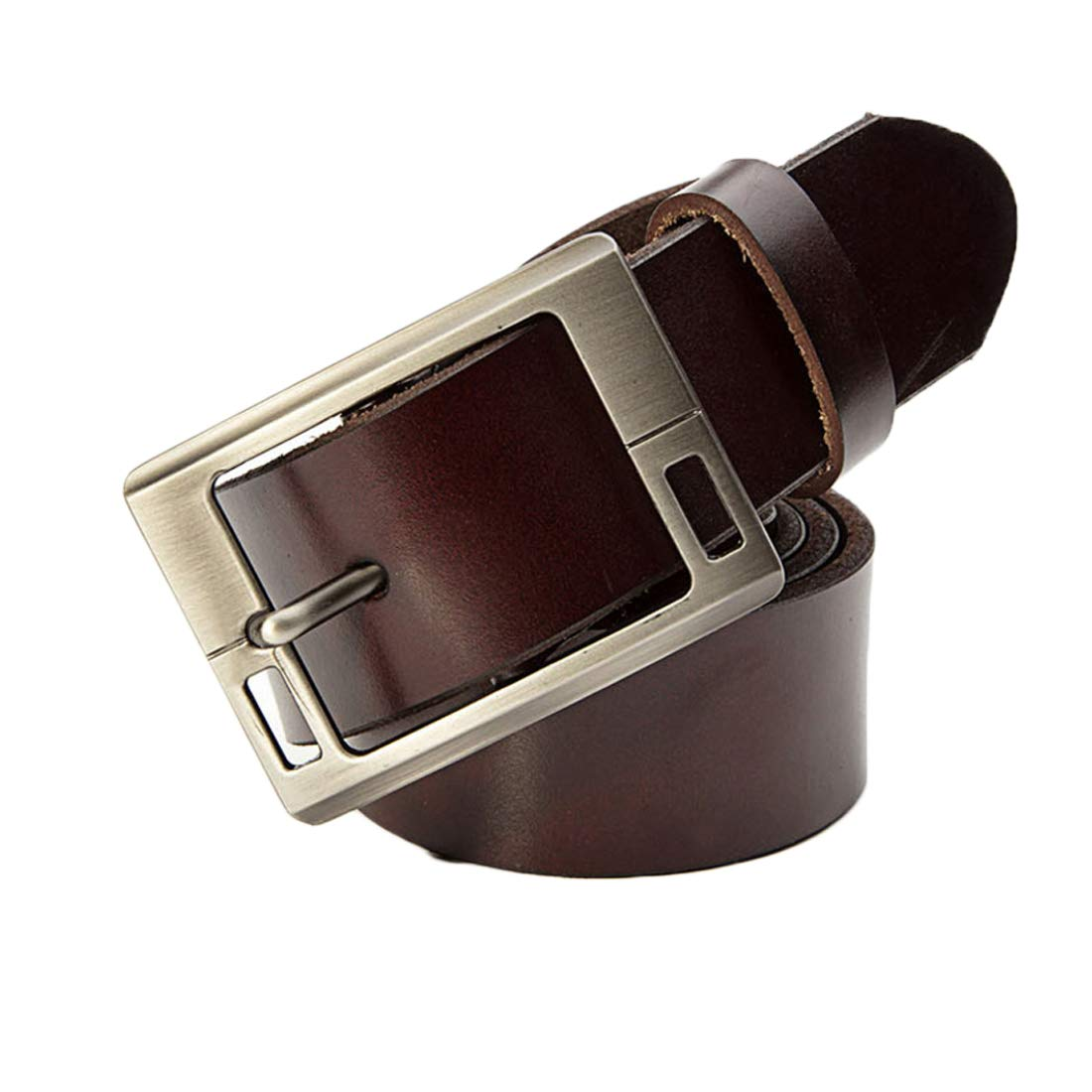 Accessories Leather Belt Men All-Match Pure Cowhide Smooth Alloy Buckle Belt Belts (color   Coffee, Size   100-105CM)