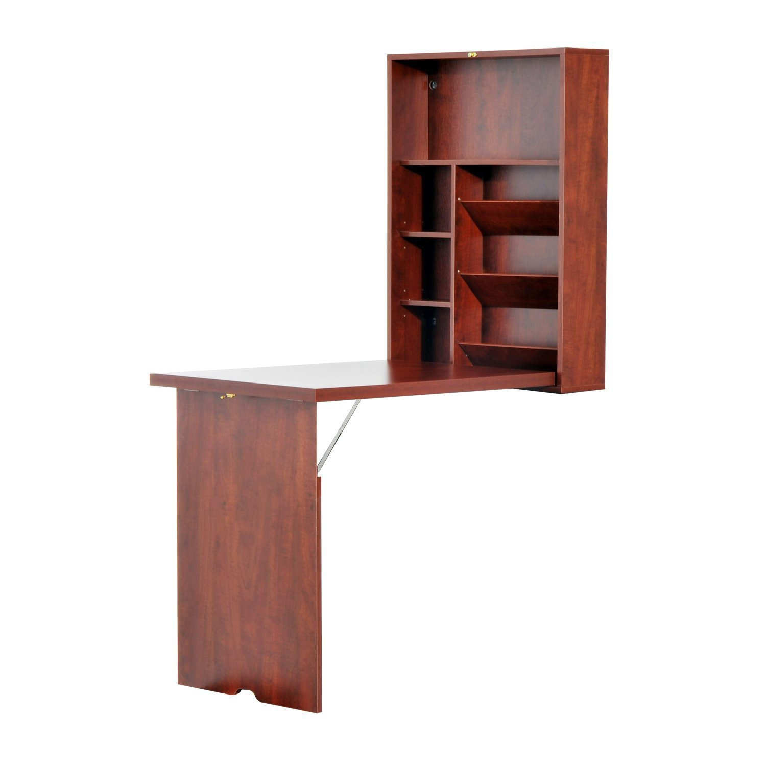HOMCOM Fold Out Convertible Wall Mount Desk (Mahogany)