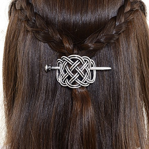 Viking Celtic Hair Clips Hairpins- Viking Hair Accessories Celtic Knot Hair Pins Antique Silver Hair Sticks Irish Hair Decor Accessories for Long Hair Jewelry Braids Hair Slide Clip With Stick(F-H) (Jewelry Large Horseshoe)