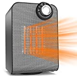 Ceramic Heater, 1500 Watt Personal Office Heater with Thermostat, Quiet Operation Under Desk Floor Use, Auto Rotating, Safe ETL Approved