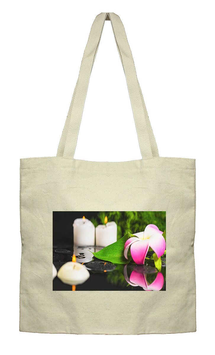 Flat Market Bag Canvas Tote Spa Concept Green Leaf Calla Lily By Style In Print
