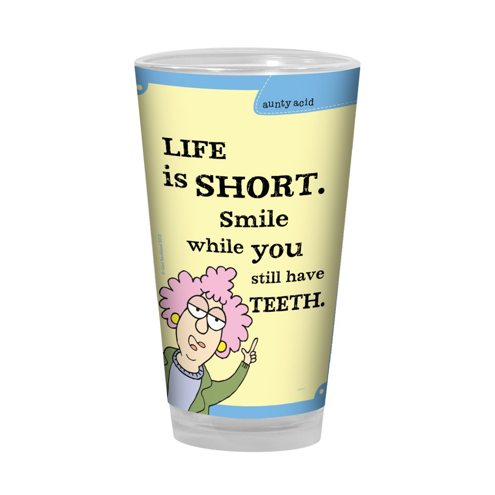 Tree-Free Greetings PG02757 Aunty Acid Artful Alehouse Pint Glass, 16-Ounce, Life is Short Tree Free