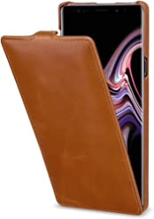 StilGut UltraSlim Case, Custodia Flip Case per Samsung Galaxy Note 9 in Vera Pelle, Cognac