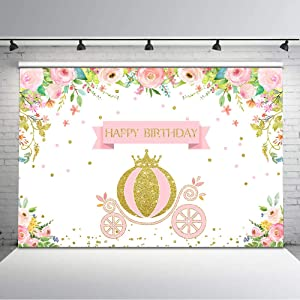 Avezano Princess Birthday Backdrop Gold and Pink Princess Carriage Crown Floral Birthday Photography Background 7x5ft Vinyl Royal Princess Carriage Birthday Party Decorations for Girls