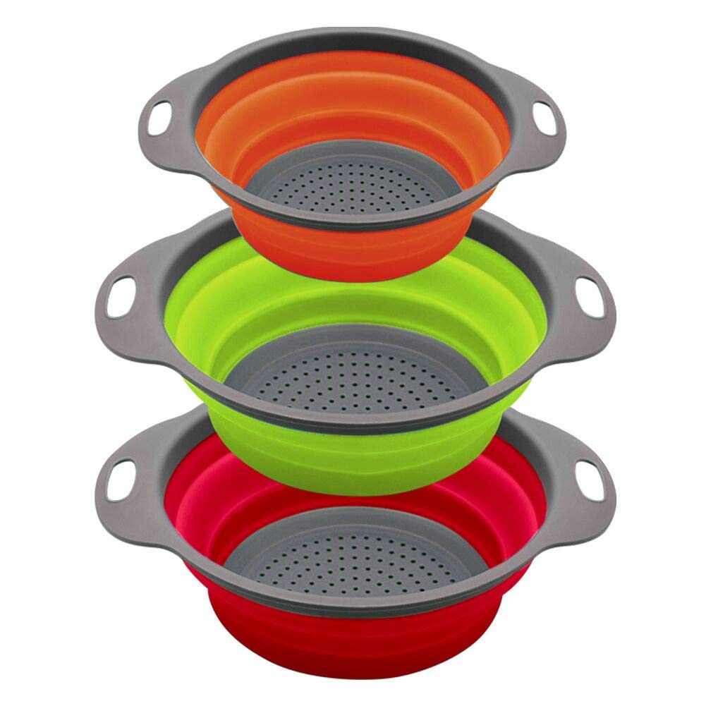 QiMH Collapsible Colander Set of 3-2 pcs 4 Quart and 1 pc 2 Quart - Food-Grade Round Space-save Silicone Kitchen Foldable Food Pasta Strainer