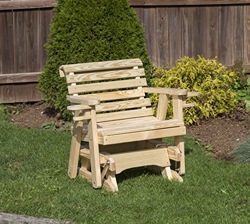 Amish Heavy Duty 600 Lb Roll Back Pressure Treated Porch Patio Garden Lawn Outdoor GLIDER CHAIR with cup holders-2 Feet-NATURAL-Made in USA -
