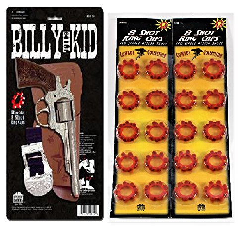 Billy the Kid Toy Cap Gun Holster Set with 2 Pack of 8 Shot Ring (Diecast Toy Cap)