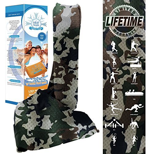 Cooling Towel - Sports & Fitness Award Leading Cool Fabric, As Seen On TV HEAT TAMER. Instantly Cools Head Neck or Body - Use on Pets Camping Yoga Golf Migraines or Gym Fast Drying