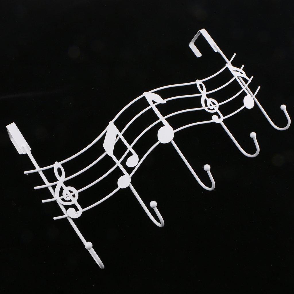 Baoblaze T/ürgarderobe Musiknote T/ürhaken 5 Haken Mehrzweckhaken T/ürh/ängeleiste Handtuchhalter Kupfer