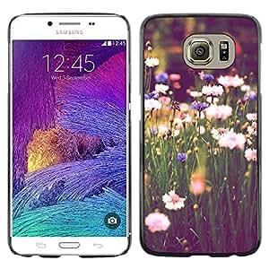 TopCaseStore / la caja del caucho duro de la cubierta de protección de la piel - Field Daisies Green Blooming Vignette - Samsung Galaxy S6 SM-G920