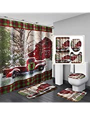 4 Pcs Christmas Shower Curtain Sets with Non-Slip Rugs,Toilet Lid Cover and Bath Mat,Red Car Farm Truck with Tree Christmas Shower Curtain with 12 Hooks Waterproof Bathroom Curtain Decor Bath