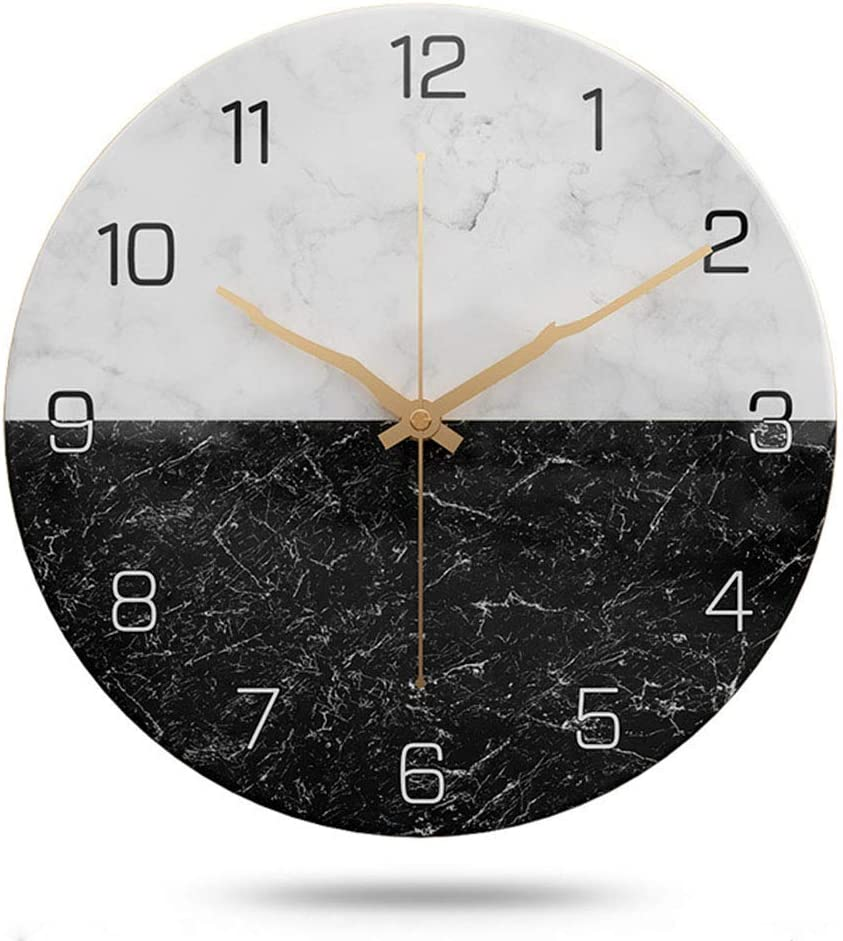 JUSTUP Silent Wall Clock,12 Inch Marble Wall Clock Battery Operated Stylish Elegant Silent Non-Ticking Wall Clock for Home Kitchen/Living Room Decor (Black and White)