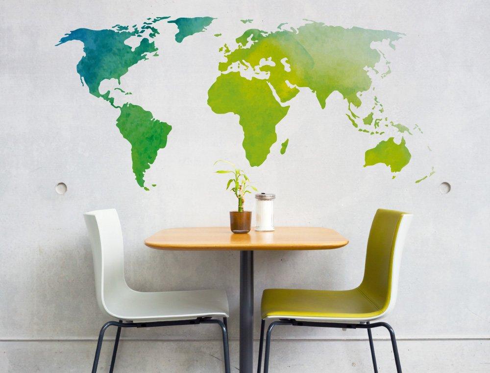 Pegatina de pared Salón Mapa del mundo Acuarela en tonos verdes ...