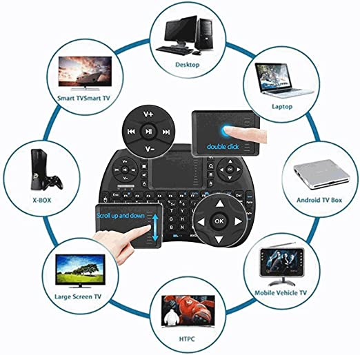 Mini teclado QWERTY inalámbrico WiFi para Smart TV Android Xbox 360 PS3 ratón touchpad: Amazon.es: Electrónica