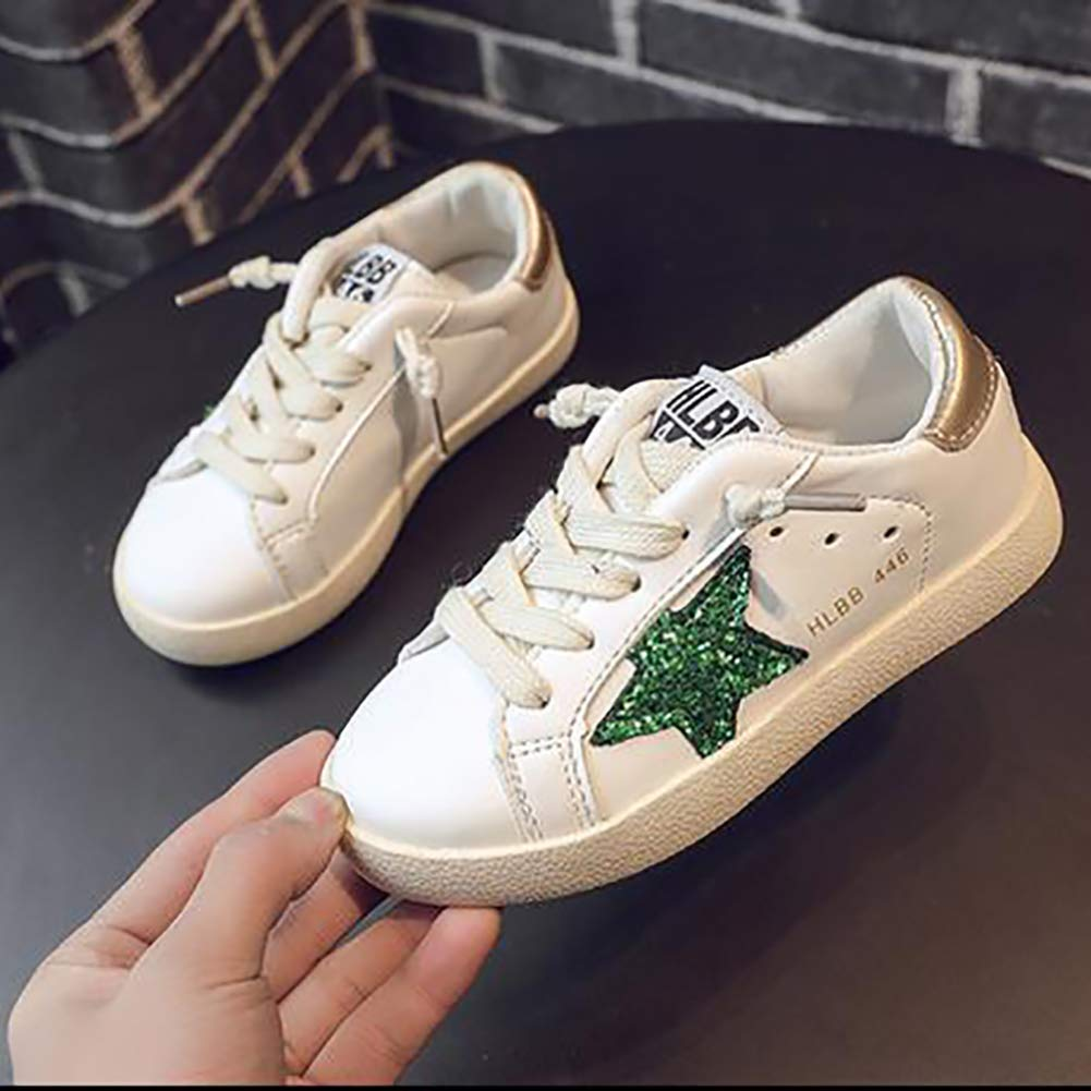 XinYiQu Spring Kids Sparkle Star Sneakers Casual Shoes for Girls Boys