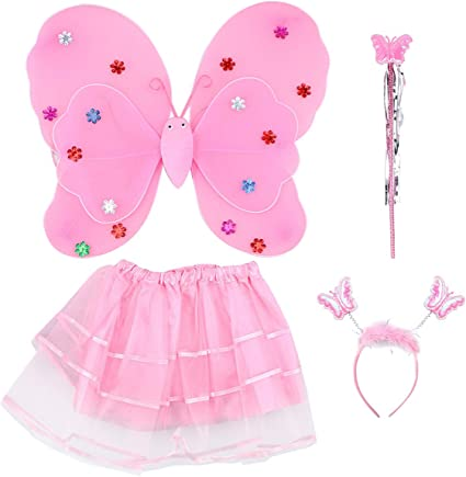 Light pink Fairy wing and wand set Girs Real princess
