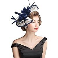 Z&X Fascinator Headband Clip Cocktail Tea Party Feather Floral Pillbox Hat Black