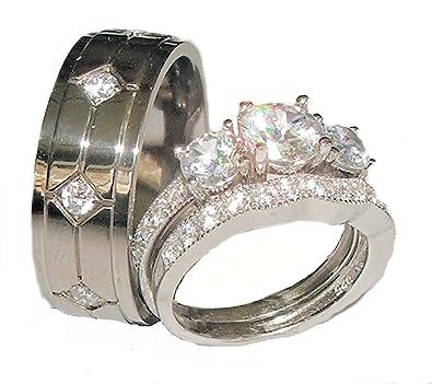 Amazoncom His Hers 3 Piece 925 Sterling Silver Titanium Wedding