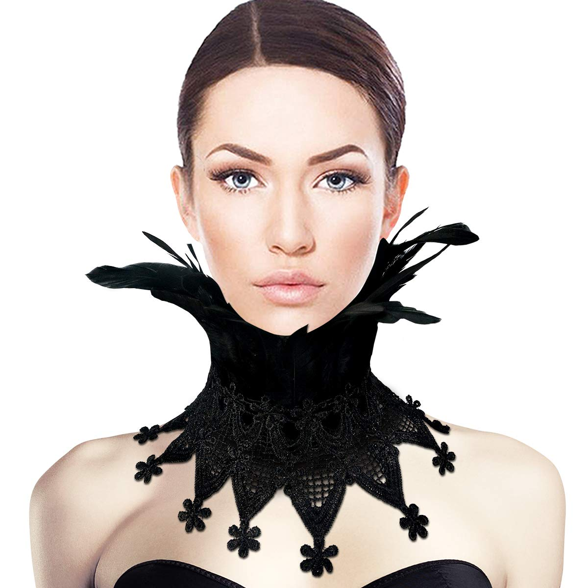 Homelex Black Gothic Victorian Natural Feather Splice Collar Choker Cape
