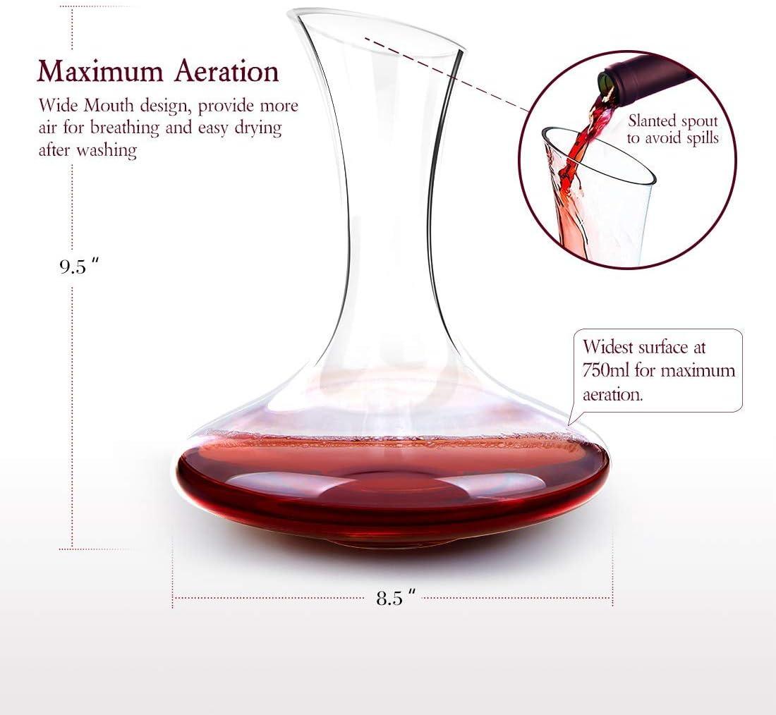Doctor Hetzner Dekantierer,Weinkaraffe 100/% Bleifreie,Kristall Dekanter Rotwein Karaffe 1800ml