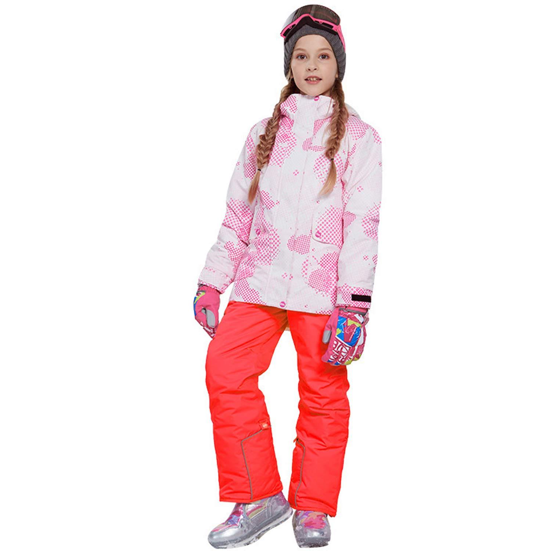 スノーボードウェア 上下セット キッズ 上下着 スキーウェア アウトドアジャケット コート 子ども 男の子 女の子 男女兼用 保温 撥水加工 スキー 釣り用 登山 (81817+オレンジ, 120(身長115cm-120cm))