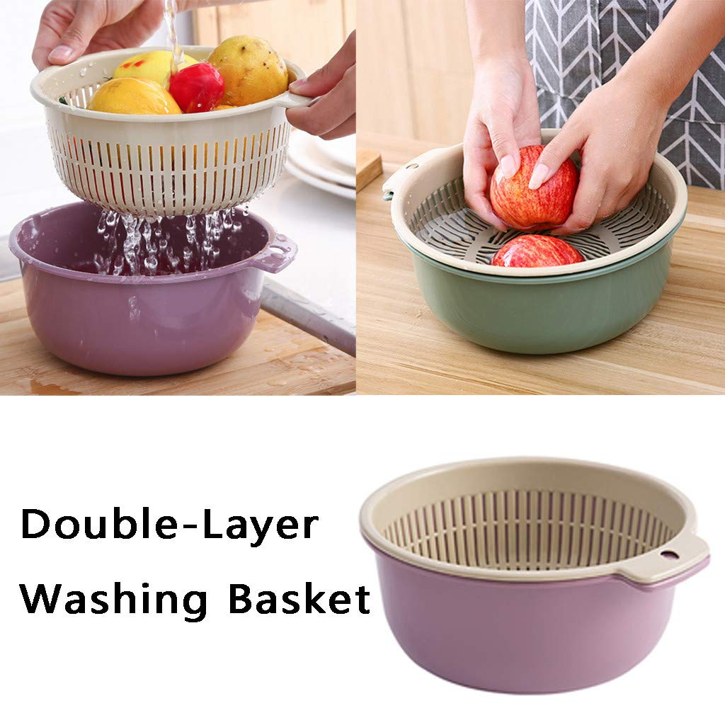 Double Layered Rotatable Drain Basin and Basket,Large and Small Size MoonHome Double-Layer Separation Design Multifunction Kitchen Colander