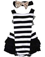 Newborn Baby Girls Lace Striped Jumpsuit Romper Playsuit + Headband Outfits