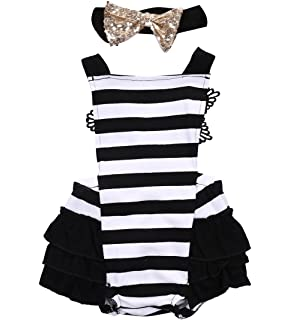 d2107407f5f Newborn Baby Girls Lace Striped Jumpsuit Romper Playsuit + Headband Outfits