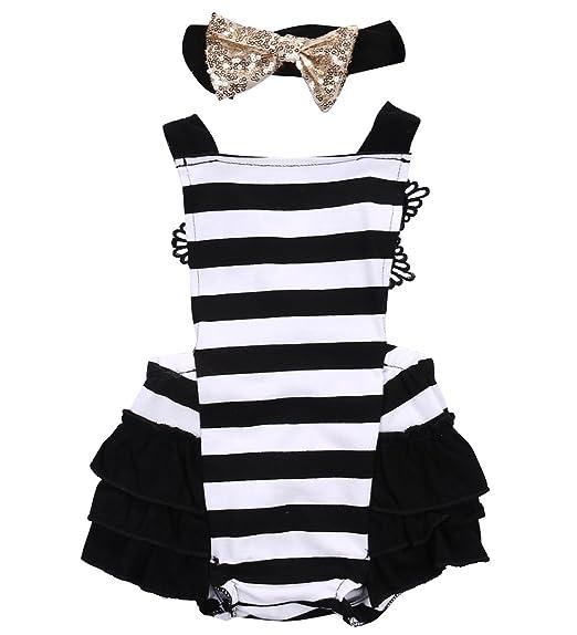 8733434ff Amazon.com  Newborn Baby Girls Lace Striped Jumpsuit Romper Playsuit ...