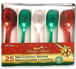 Christmas Appetizer Mini Spoons - Cocktail Appetizer Dessert Food Pick Plastic Utensils - 25 Pieces