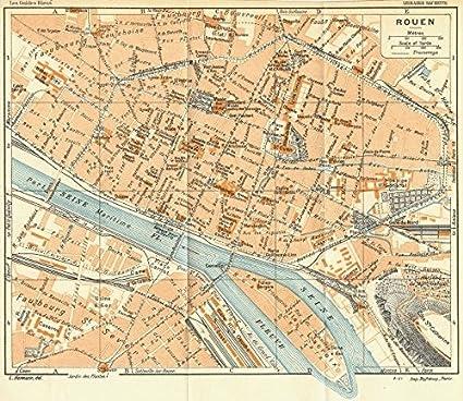 Amazon.com: NORMANDY. Normandie. Rouen - 1928 - old map - antique ...