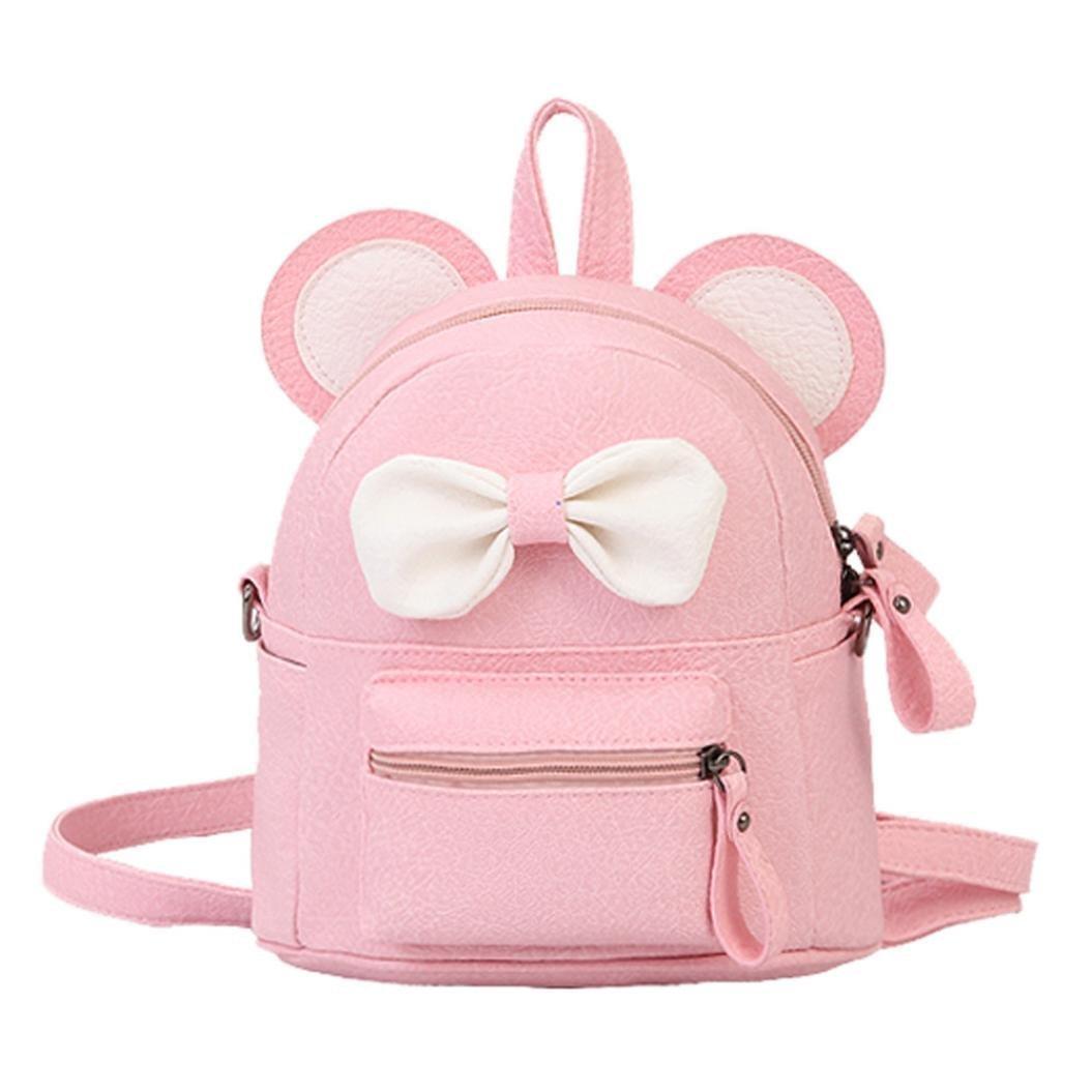 cdd8bfab7e2 Sameno Leather School Bag Travel Backpack Satchel Bow Tie Women Shoulder  Bag Girl Women (Pink)