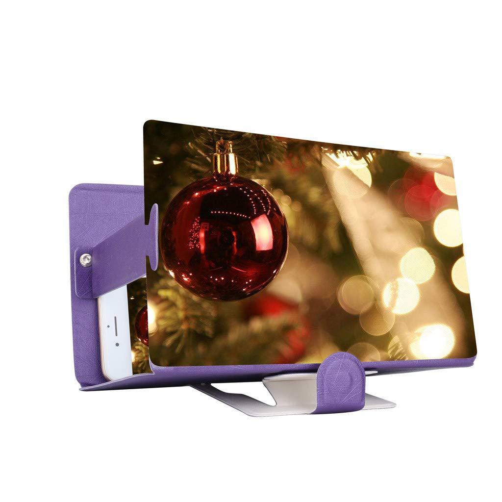 STORTO 3D Phone Screen Magnifier Stereoscopic Amplifying Desktop 8Inch Leather Bracket (Approx. 19x 12.2cm / 7x4.72inch, Purple)