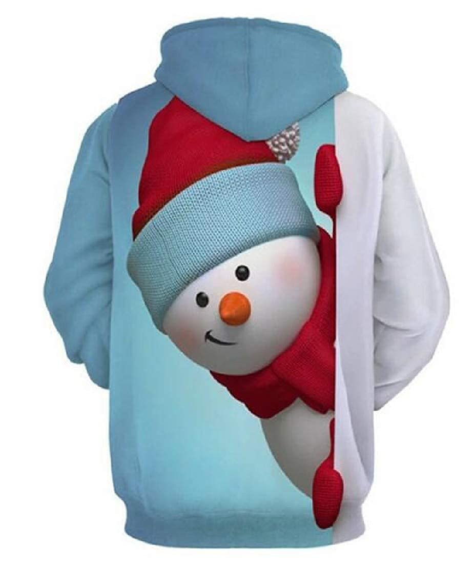 LianXiYou Men Drawstring Individuality Christmas Print Tunic Sweatshirt Hoodie Tops