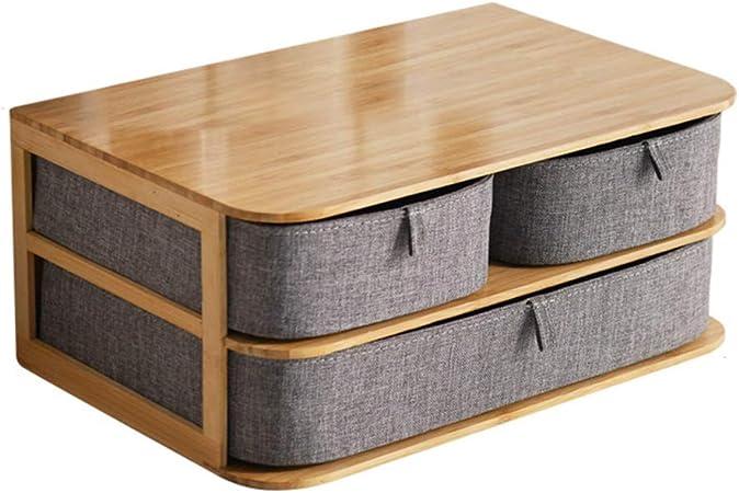 HM&DX Joyería Caja de Almacenamiento con Cajones, 2 Capas 3 Compartimentos Minimalista Bambú Caja para Joyas Organizador cosmético para niñas Mujer -B: Amazon.es: Hogar