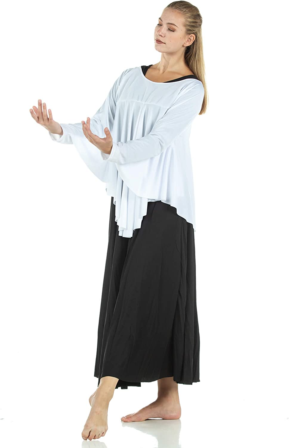 Danzcue Womens Angel Wing Drapey Pullover Dance Top