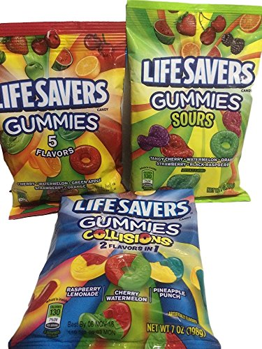 Lifesavers Gummies, Collisions, Sours and Original Flavors 7oz 3 Bags