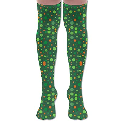 ruishandianqi Calcetines Altos New Irish Polka Dots On Green Fabric Fashion Stylish Comfortable Knee High Socks Long Socks for Women and Men: Deportes y aire libre