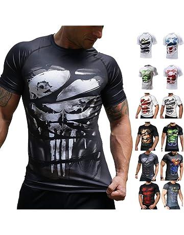 Camisetas de Fitness Compresi/ón Ropa Deportiva Manga Corta Hombre para Gimnasio Ejercicio SM100GYXL