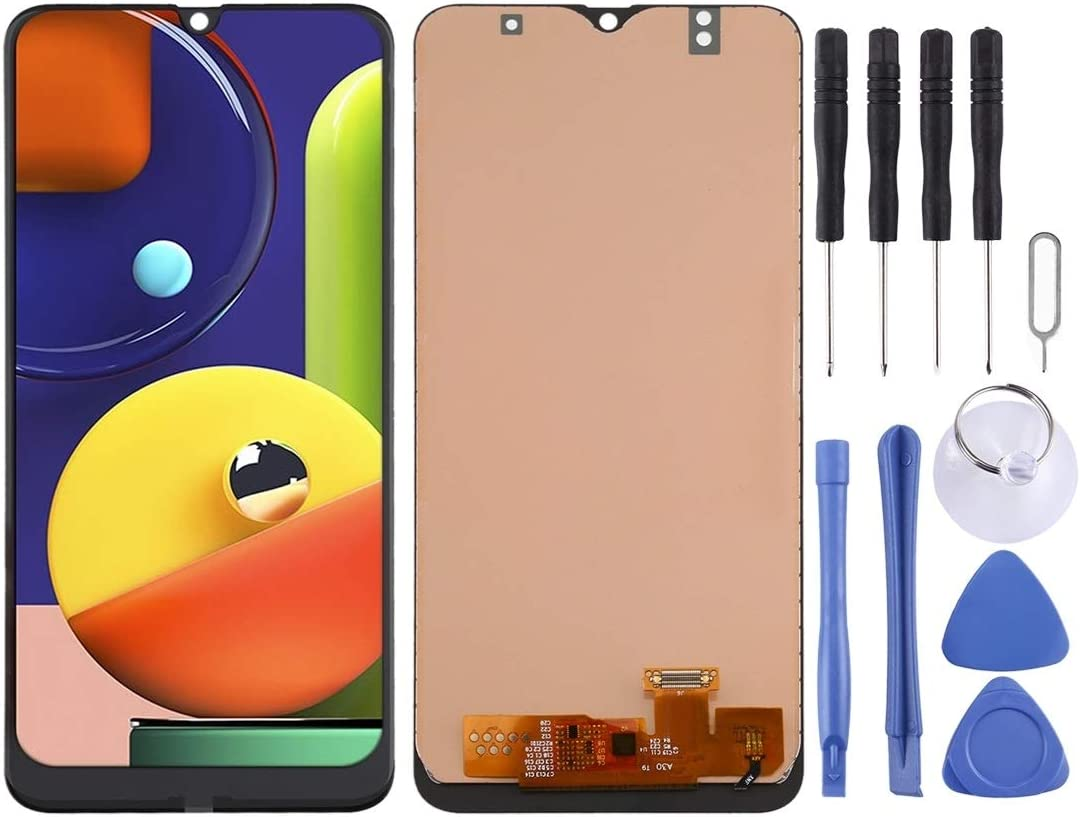 A50s Durable DONG Incell LCD Screen and Digitizer Full Assembly for Galaxy A30 A50 Color : Black