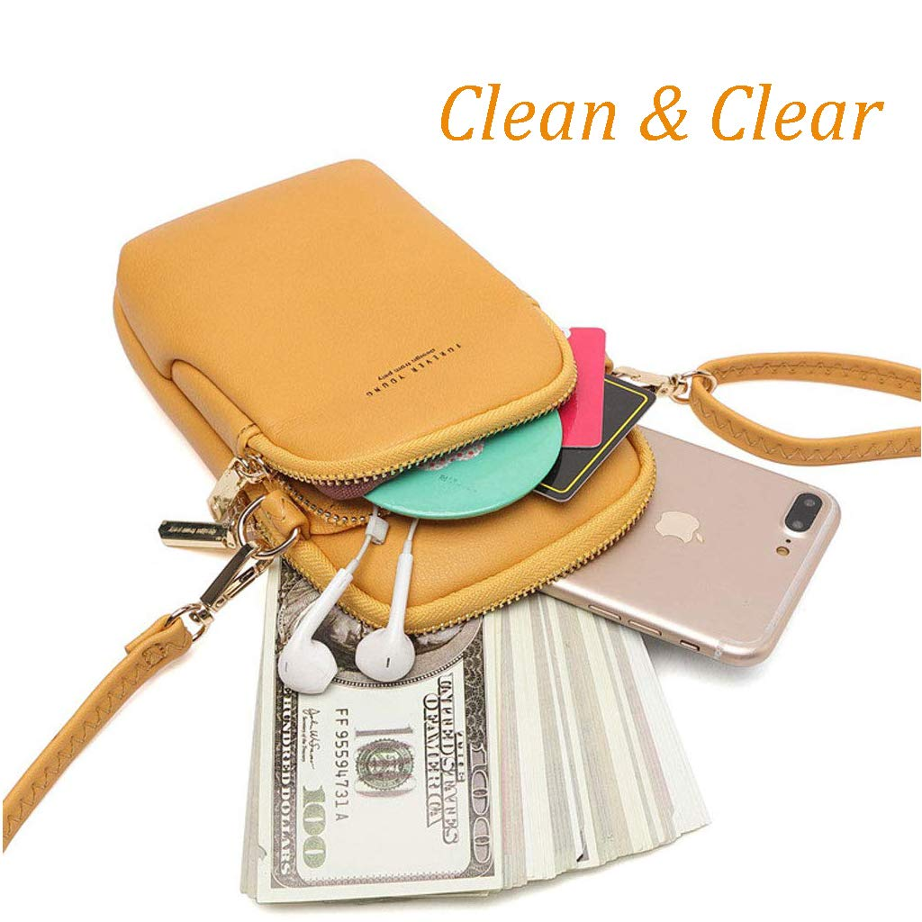 2 Compartments for phone Hypasa Ladies Light Pouch Women Crossbody Bag Shoulder Leather Purse Girls Mini Bag Black cash and Credit /& ID Cards