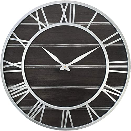 Vintage Industrial Metal Solid Fir Wood Wall Clock,24 Inch Round 3D Roman Numerals Retro Rustic Battery Operated Non-Ticking Large Art Home Decoration for Living Room 24 inch, White Frame