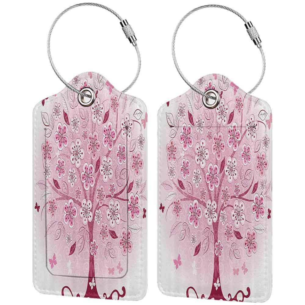 Personalized luggage tag House Decor Collection Decorative Bonsai Tree with Flowers Easy to carry Leaves And Butterflies Fantasy Ornate Illustration W2.7 x L4.6
