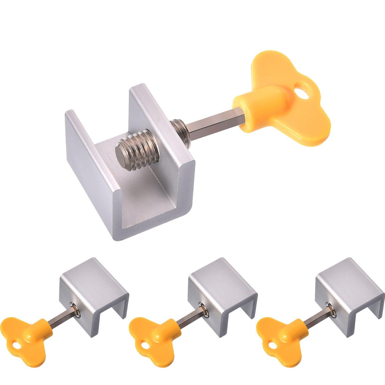 Maxdot 4 Sets Sliding Window Locks Stop Aluminum Alloy Door Frame Security Lock with Keys (4 Sets) by Maxdot