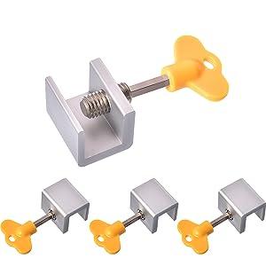 Maxdot 4 Sets Sliding Window Locks Stop Aluminum Alloy Door Frame Security Lock with Keys
