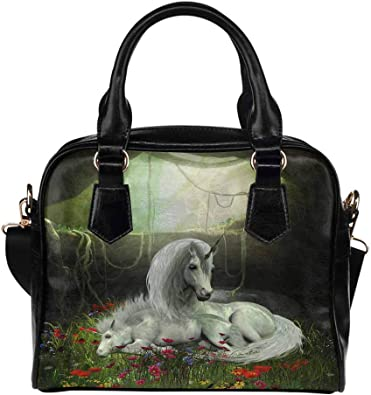 White Leather Tote Bag Small InterestPrint Custom Unicorn Pattern