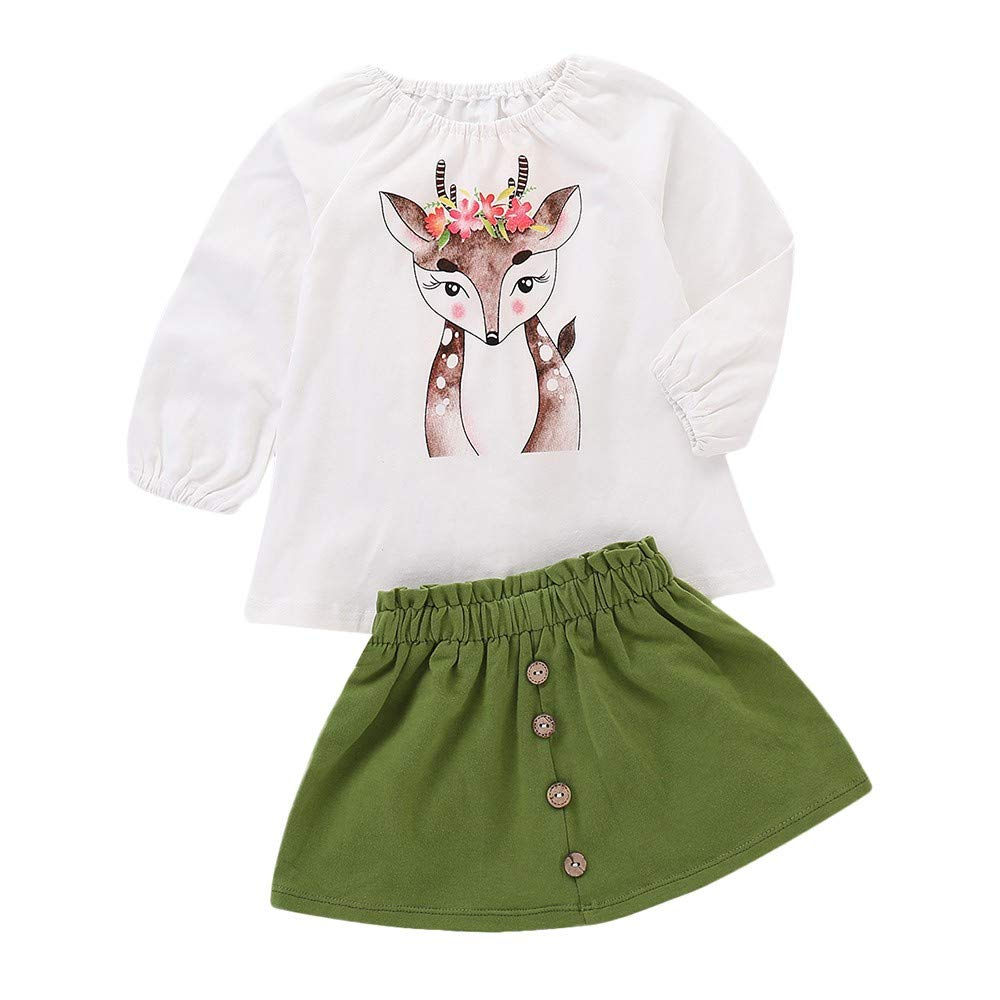 erthome Baby Girls Clothes, 0-4 Years Toddler Baby Girls Deer Cartoon Print Long Sleeve Tops+Skirt Outfit Set