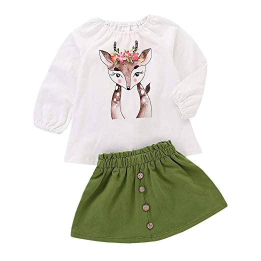 Wenjuan Cartoon Sika Deer Print Top+Skirt Outfit for Infant Newborn Toddler Kids Baby Girls