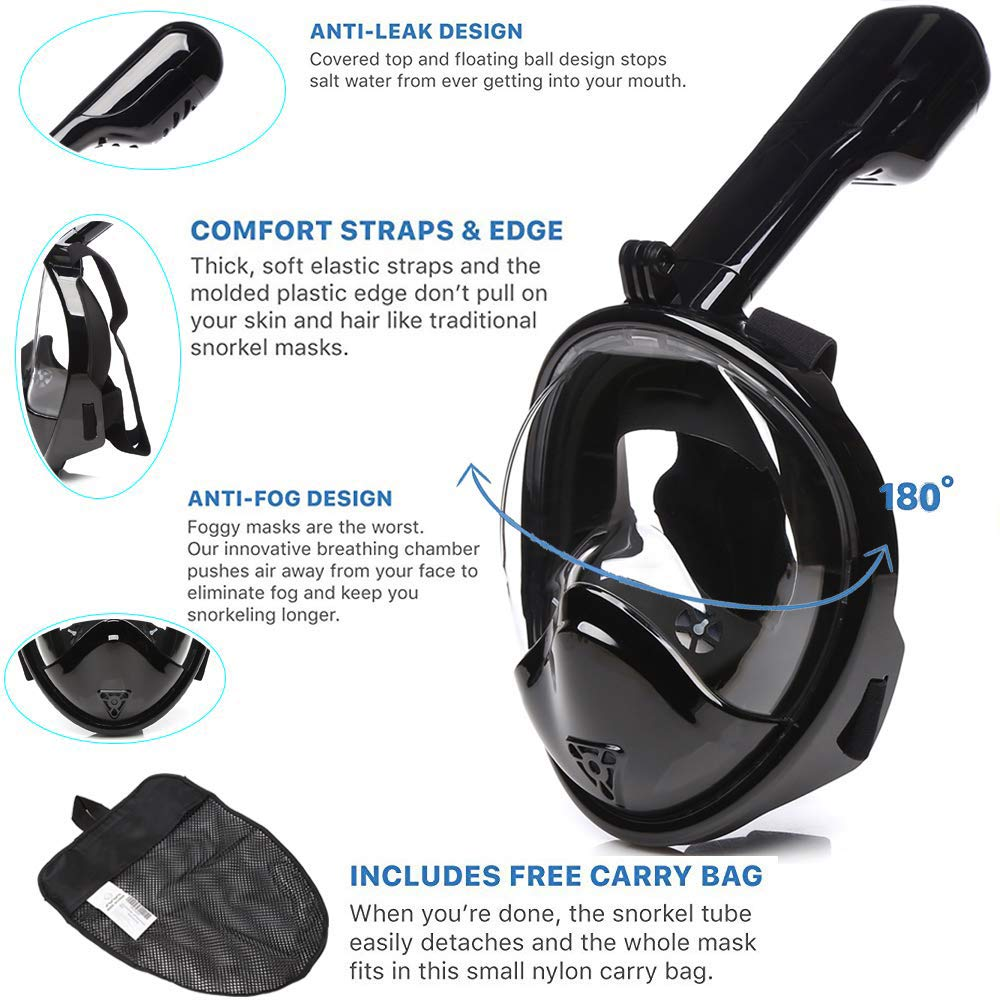 Newest Version Snorkel Mask 180/° Full Face Snorkel Mask Foldable with Panoramic View Anti-Fog Anti-Leak with Adjustable Head Straps See Larger Viewing Area Than Traditional Masks with GoPro Mount